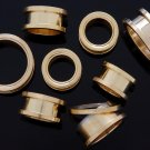 """Pair 11/16"""" Inch Screw On Tunnels Ear Plugs Eyelets Gold 18mm"""