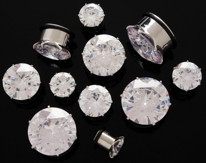 Pair 00 Gauge Clear CZ Cubic Zirconia Bling Plugs 9mm