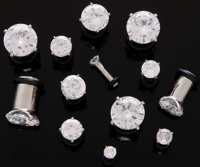 Pair 10 Gauge Clear CZ Cubic Zirconia Bling Plugs 2mm 10g