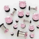 Pair 4 Gauge Pink CZ Cubic Zirconia Bling Plugs 5mm 4g