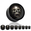 Pair 00 Gauge Black and White Skull Acrylic Saddle Plugs 9mm