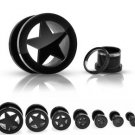 Pair 4 Gauge Black Star Screw On Tunnels Ear Plugs 4g