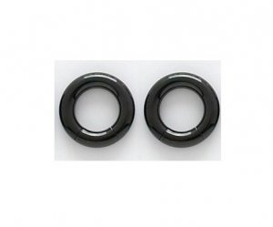 Pair 6 Gauge Black Titanium Segment Hoop Earrings 1/2""