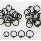 "Pair 14 Gauge Black Titanium Captive Bead Earrings 7/16"""