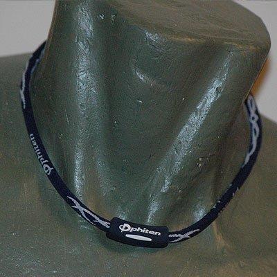 "Phiten Titanium X30 Tribal Navy/White necklace 22"""""