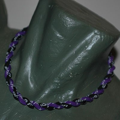 "Phiten Titanium Tornado Necklace Purple / Black 15"""""