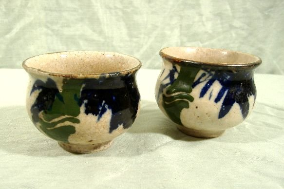 Japanese Chinese Pottery Tea Bowls Cups Signed Pair Lot 2 Antique Vintage Asian