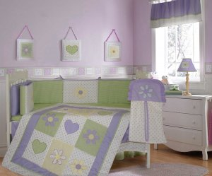Lavender Dottie Daisy 10PC Crib Bedding Set