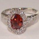 Round Garnet Red CZ Sterling Silver Ring