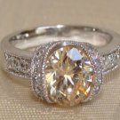 Champagne Oval CZ Sterling Silver Ring