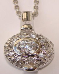 Clear Round CZ Pendant Sterling Silver Necklace