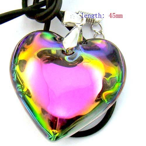 MULTICOLOR HEART NECKLACE PINK METAL CHOKER CHAIN