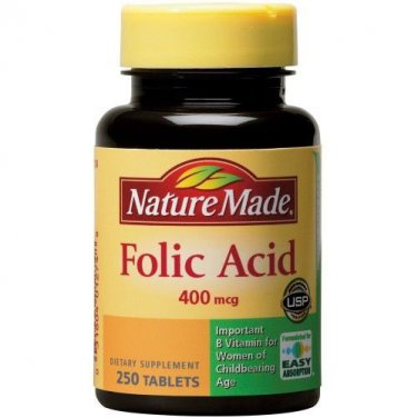 1- NATURE MADE FOLIC ACID 400 MCG 250 TABLETS EACH BOTTLE EXPIRED  4/2015