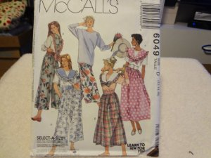 McCalls 6049 Misses' Top With Detatchable Collars, Skirt & Slit-Skirt - Top (size 12,14,16)