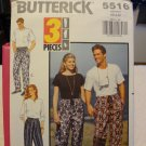 Butterick 5516 Unisex Pull on Pants With Drawstring Variations (size XS,S,M)