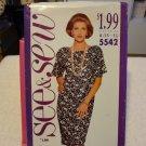 Butterick See & Sew 5542 Misses'/Misses' Petite Dress (size XS,S,M,L,XL)