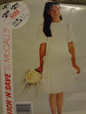 McCalls Stitch N Save 5222 Girls' Dress (size 7,8,10)