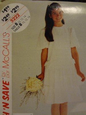 McCalls Stitch N Save 5222 Girls' Dress (size 10,12,14)