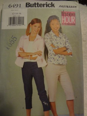Butterick 6491 Girls' Shirt, Top & Pants (Size 12,14,16)