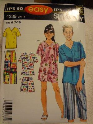 Simplicity 4339 Girls' & Boys' Loungewear (size 7-16)