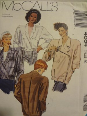 McCalls 4684 Misses' Unlined Jackets (Size 12)