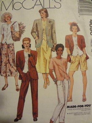 McCalls 4690 Misses' Unlined Jacket, Top, Skirt, Pants, & Shorts (Size 8)