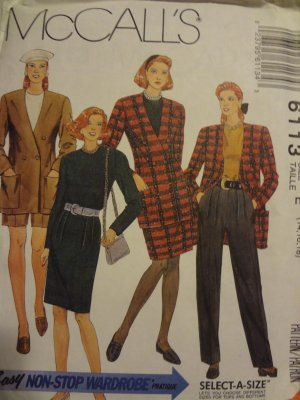 McCalls 6113 Misses' Unlined Jacket, Top, Skirt & Pants or Shorts (size 14,16,18)