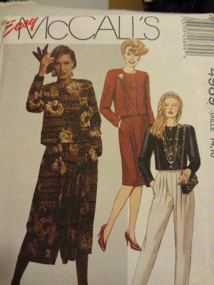 McCalls 4989 Misses' Unlined Jacket, Skirt, Split-Skirt & Pants (14,16)