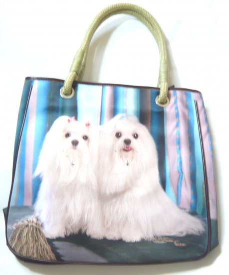 Valentine's Day gift shoulder bag tote purse white dogs print blue cute