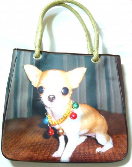 Cute ladies shoulder bag tote purse dog print brown handbag