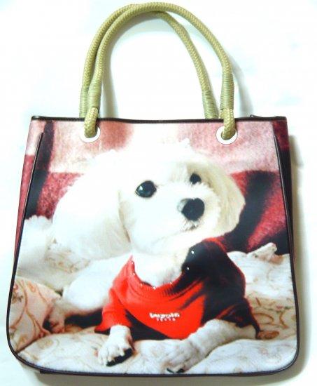 Valentine's Day gift shoulder bag tote purse white dog puppy print blue cute