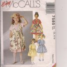 SALE - - Sweet Pinafore and Dress - Easy McCalls 7585 - Sizes 6, 7, Possibly 8