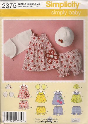 Simply Baby - Simplicity 2375 - Baby Dress, Top, Panties, Hat