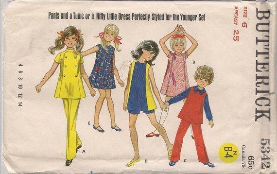 So 60's - Vintage Butterick 5342 Girl's Dress, Jumper, Pants, Shorts Pattern - Sz. 6