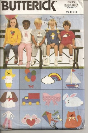 Butterick 6972 - Chidrens' T-Shirt, Shorts, Pants and Animal Transfers - Szs. 5, 6, 6X