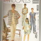 Easy McCalls Woman Style Pattern 2208 - Sizes 18W, 20W Shirt, Dress, Top or Pull -On Pants, Shorts