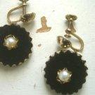 Black Velvet and Pearl Vintage EarringsFrom VIVALASVINTAGE