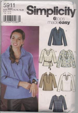 6 Misses Tops Made Easy Simplicity 5911 - Sz. 14-20