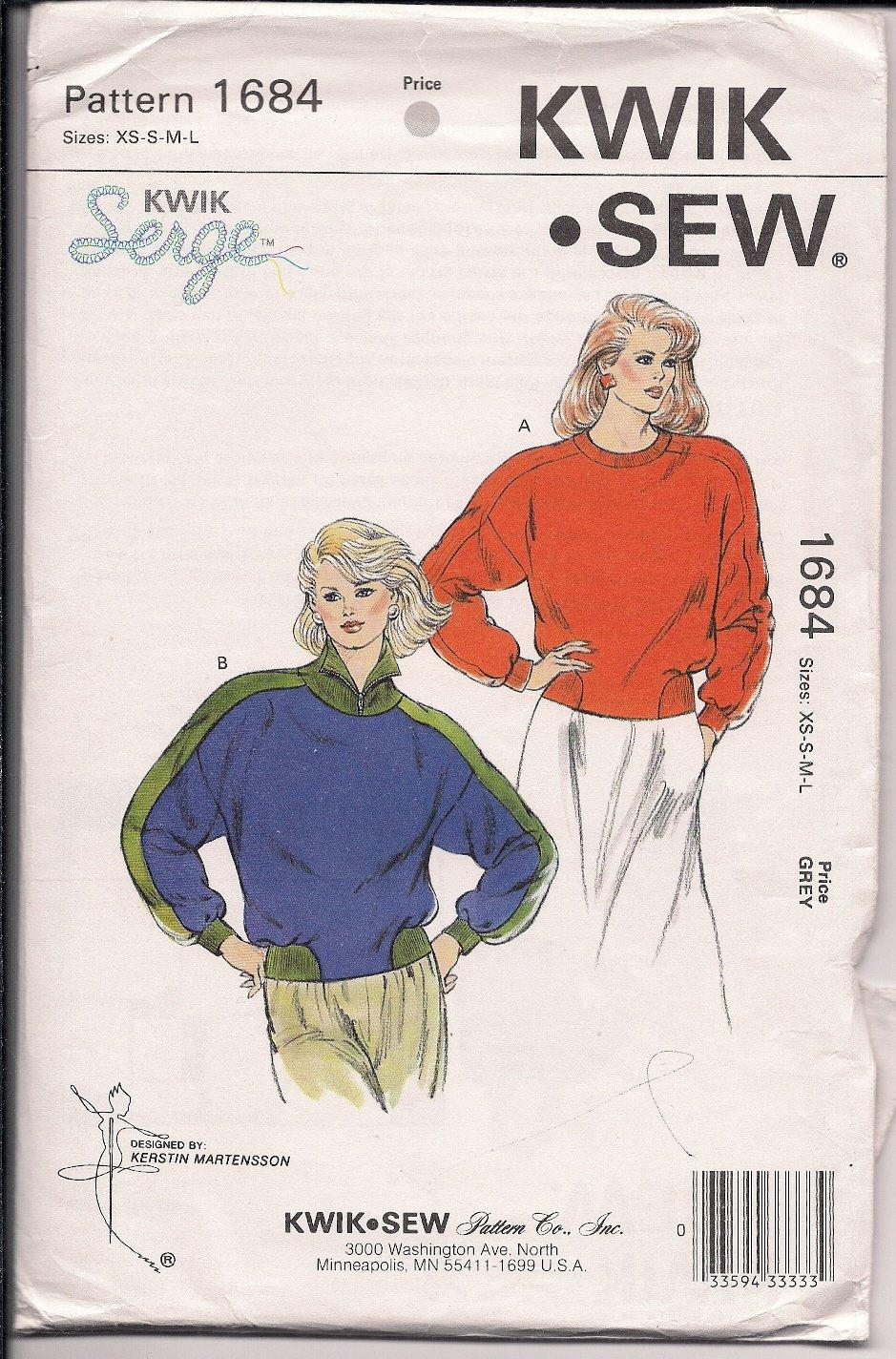 Kwik Sew 1684 Misses Pullover Tops - Sz. XS-L