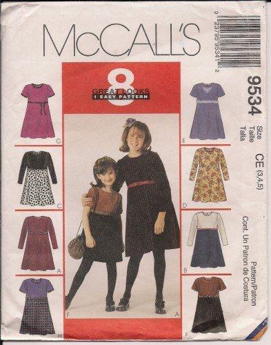 Dresses & Handbag for Girls - McCalls 9534 - Sz. 3,4,5
