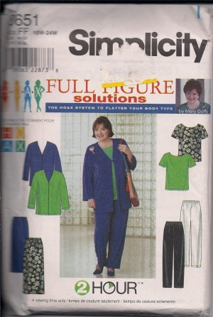 Simplicity 8651 Full Figure -Jacket,Top,Pants,Skirt Sz. 18W-24W