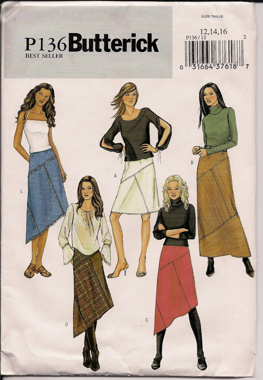 Easy Misses Skirt - Butterick P136 - Sz. 12, 14, 16 - Great Way to Combine Fabrics