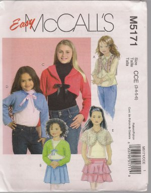 McCall's M5171 Girls' Lined and Unlined Shrugs - Sizes 3, 4, 5, 6