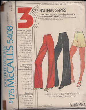 Vintage McCalls Carefree 5488 Misses Pants Shorts Sz 6810
