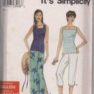 Simplicity 9719  Misses Skirt, Caprit Pants & Tank Top Sz. XS - XL