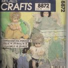 McCalls Crafts 8872 - Vintage Doll Clothes Pattern 13 Inch to 18 Inch
