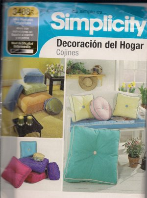 Simplicity 3408S -Pillow Pattern - Spanish Instructions -Home Decor