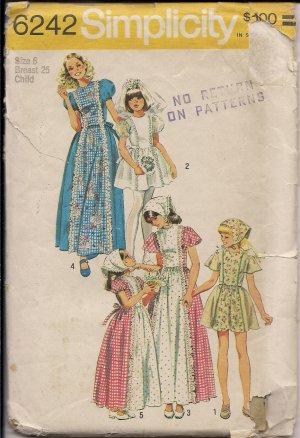 Vintage  Out of Print 1974  Simplicity 6242 Girls Dress Sz. 6