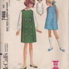 McCalls Vintage 7466 Girls Dress, Jumper, Blouse Sz. 7