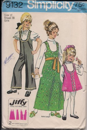Vintage 1970  Simplicity 9132 Girls Jiffy Jumper, Jumpsuit Size 12